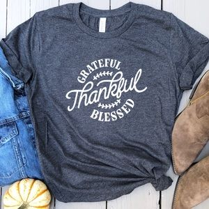Tops - Grateful thankful blessed tee graphic t-shirt gray